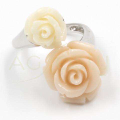 Anillo de plata doble rosa blanca y rosa