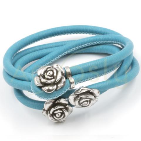 Pulsera/collar de pieal azul 3 rosas de plata