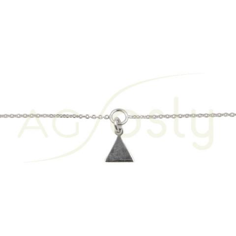 Pulsera modelo forzada diamantada con motivo triángulo