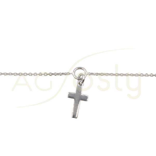 Pulsera de plata modelo forzada diamantada con motivo cruz