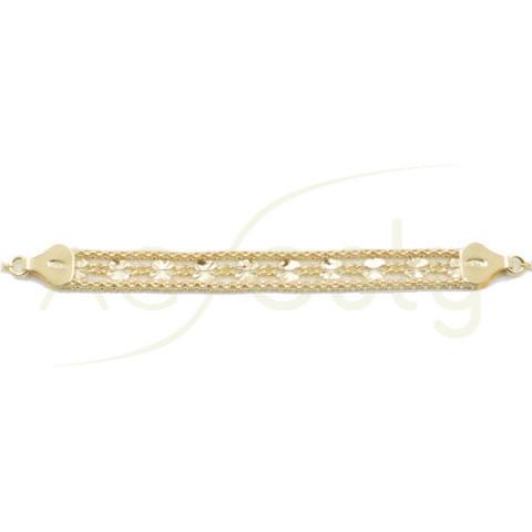 Pulsera de plata dorada de maya doble con motivo flor