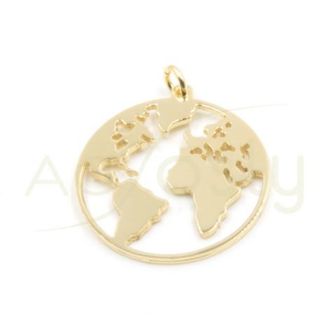 Colgante del mundo en 20mm dorado