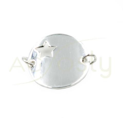 Placa en forma de estrella con 2 anillas