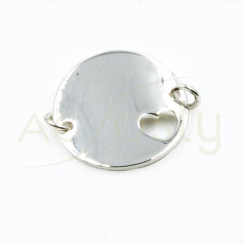 Placa redonda de dos anillas con un corazón