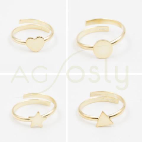 Anillo de plata dorada con moivos triángulo, corazón o redonda