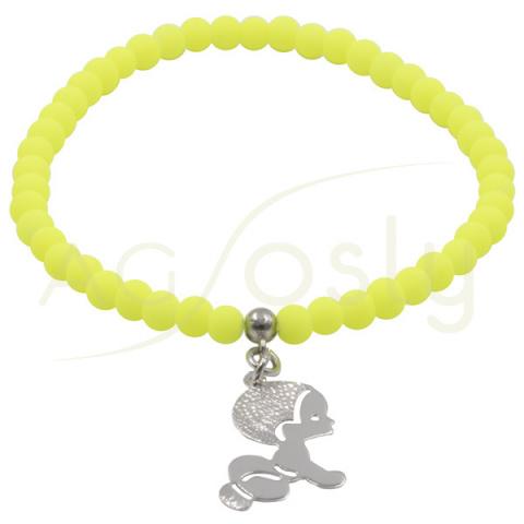 Pulsera de bolas amarillas con colgante bebé