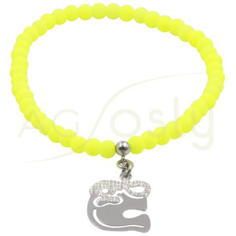 Pulsera de bolas amarillas con colgante elefante