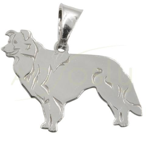 Colgante de plata modelo perro Border Collie