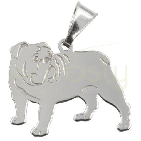 Colgante de plata con forma de perro Bulldog Ingles