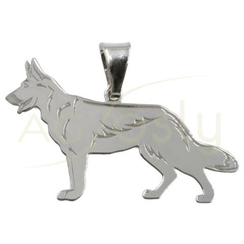 Colgante de plata en forma de perro Pastor Aleman