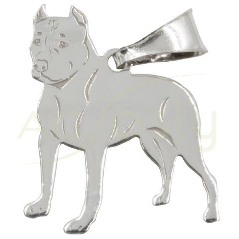Colgante de plata en forma de perro Pitbull