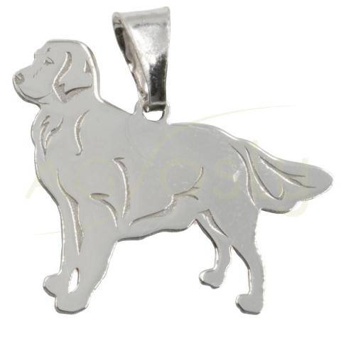 Colgante de plata en forma de perro Golden