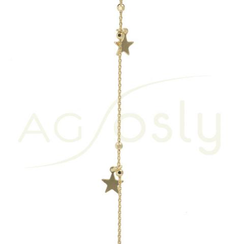Pulsera de plata chapada con bolas diamantas y estrellas intercaladas