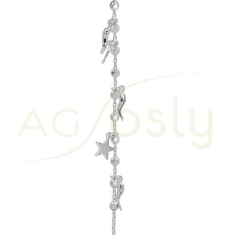 Pulsera de plata con bolas, estrellas y pimientos intercalados