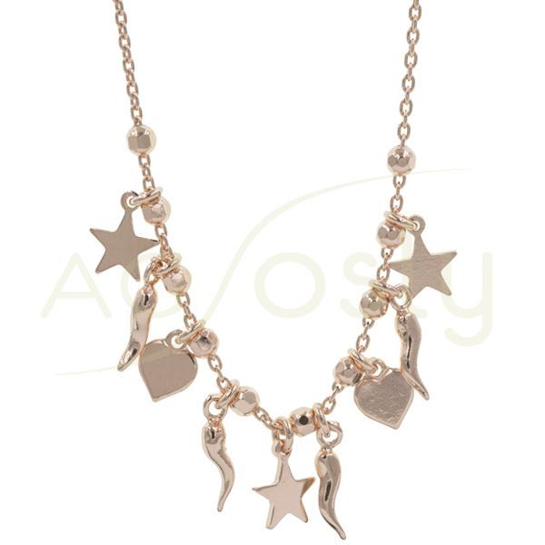 Collar de plata rosada con bolas diamantadas y motivos