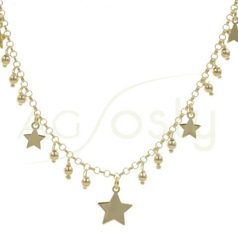 Collar de plata chapada en oro con bolitas y estrellas