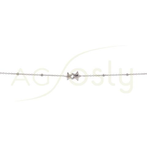 Pulsera de plata con cadena de bolas y colgantes de estrella
