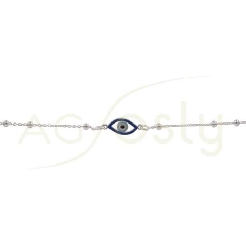 Pulsera de plata de bolitas con colgante de ojo turco