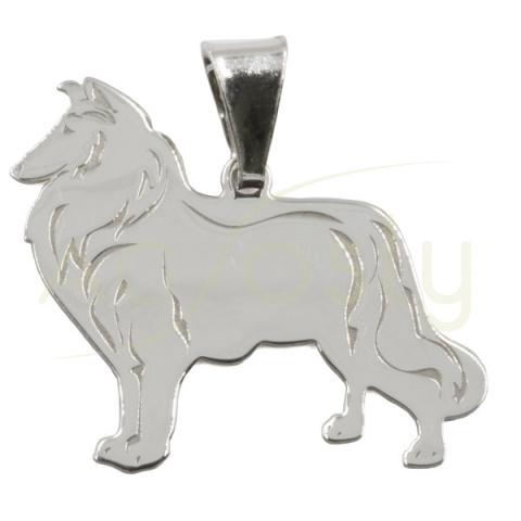 Colgante de plata perro - Collie