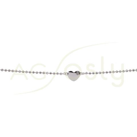 Pulsera de plata con cadena de bolitas diamantadas y corazones