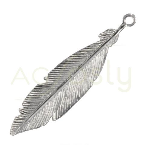 Colgante de Pluma de plata de 3cm