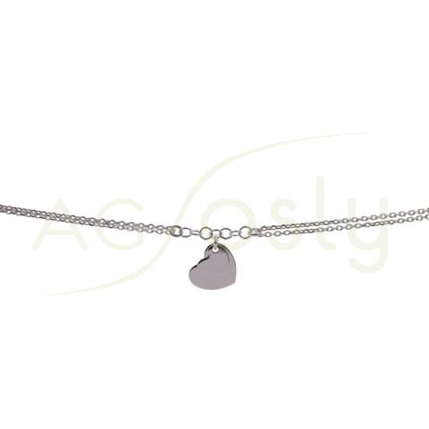 Pulsera de plata con cadena forzada doble con placa de corazón
