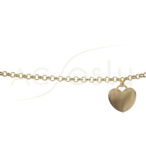 Pulsera de plata dorada con cadena rolo y colgante de corazón