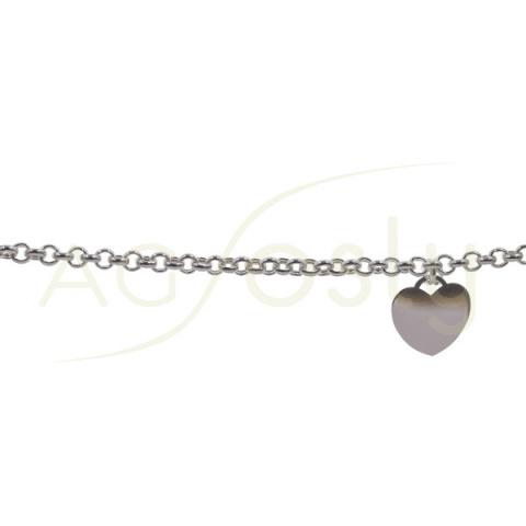 Pulsera de plata cadena rolo con placa de corazón en el extremo