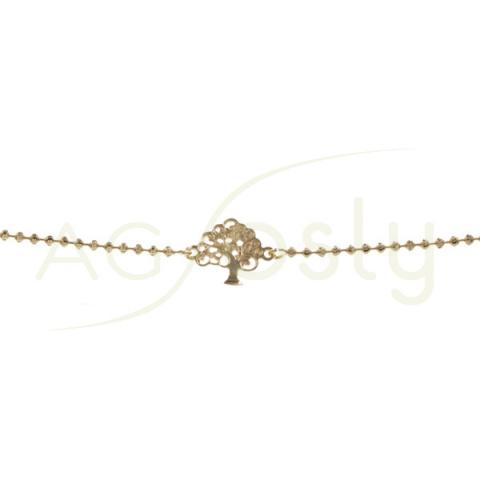 Pulsera de plata dorada con bolas diamantadas y placa del árbol de la vida
