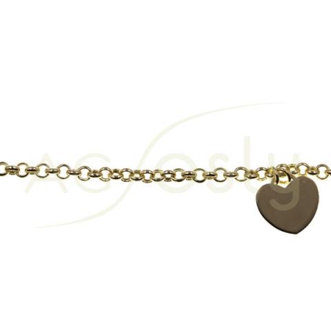 Pulsera de plata dorada con cadena rolo y corazón colgando