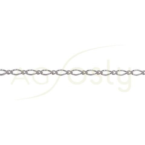 Cadena de plata a metros anillas pequeñas y grandes