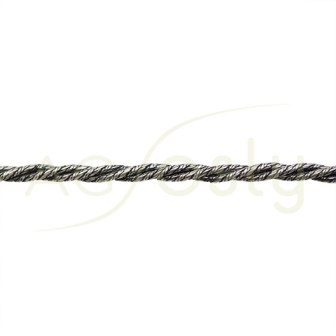 Pulsera trenzada en plata, montada a 20cmts de largo