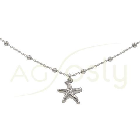 Tobillera de plata estrella de mar