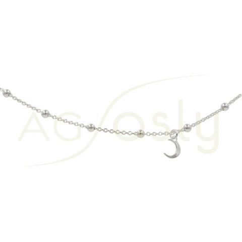 Tobillera de plata rosario y luna