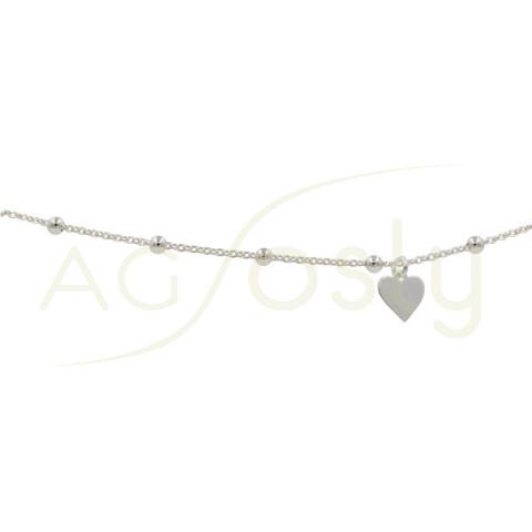 Tobillera de plata rosario con corazón
