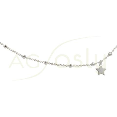 Tobillera de plata rosario con estrella