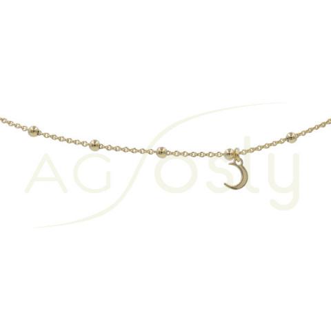 Tobillera de plata rosario con luna