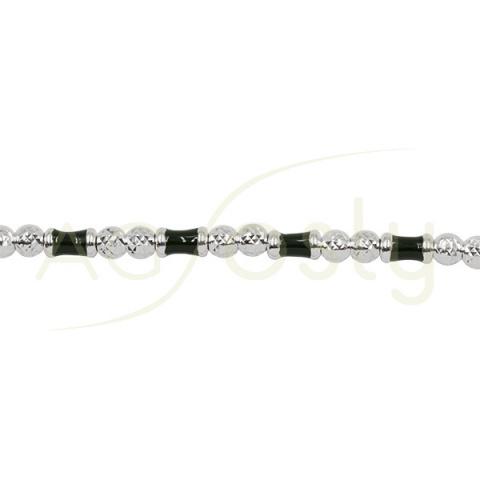 Pulsera de plata con bolas diamantadas y detalles kaki