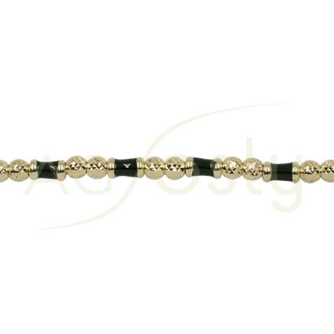 Pulsera de plata chapada con bolas diamantadas y detalles kaki