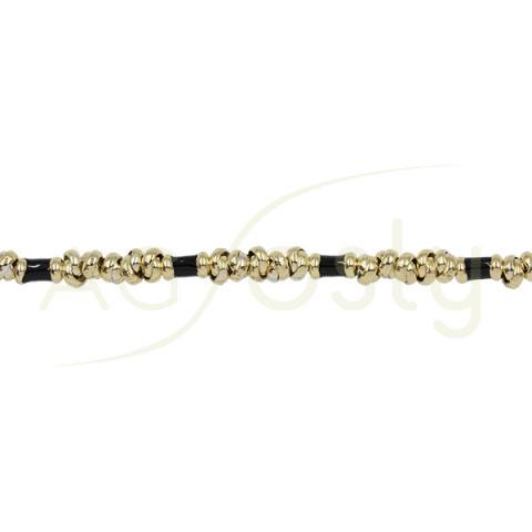 Pulsera de plata chapada con anillas y tubos en negro