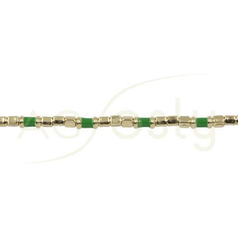 Pulsera con tubos de plata chapada y motivos en esmalte verde
