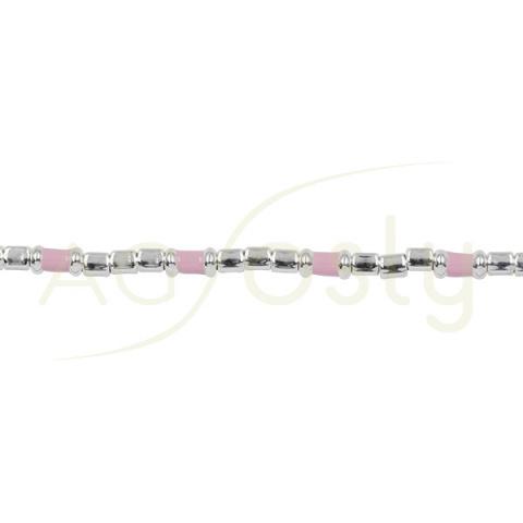 Pulsera de plata y esmalte rosa