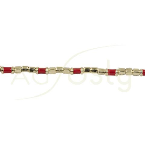Pulsera de tubos de plata chapada con esmalte rojo