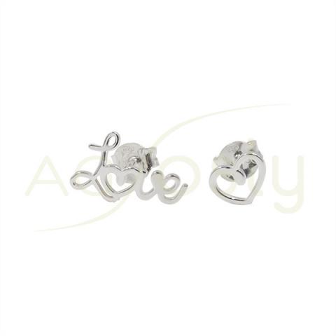 """Pendientes de plata con """"Love"""" y corazón"""