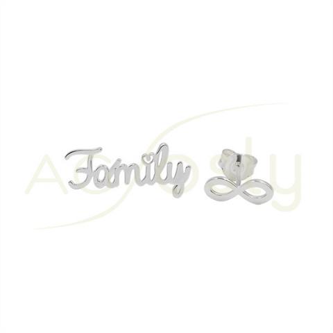 """Pendientes de plata con """"Family"""" e infinito"""