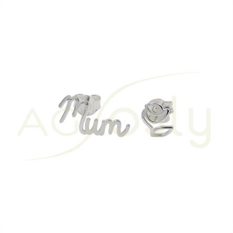 """Pendientes de plata con """"Mum"""" y una flor"""
