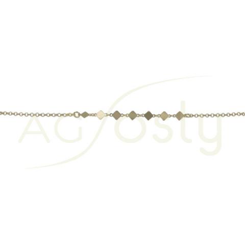 Pulsera de plata chapada con cadena rolo y rombos
