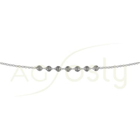Pulsera de plata con plaquitas redondas diamantadas