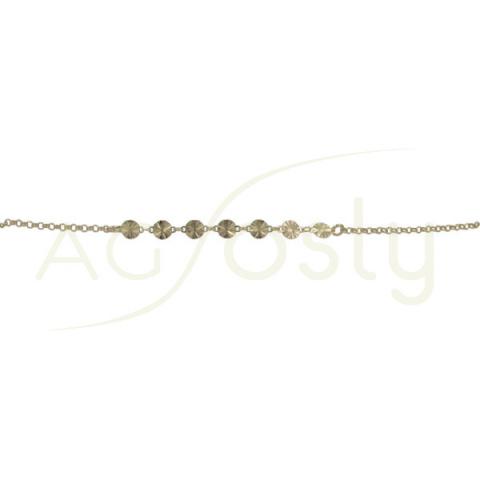 Pulsera de plata chapada de cadena rolo y placas diamantadas