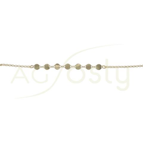 Pulsera de plata chapada con cadena rolo y plaquitas redondas